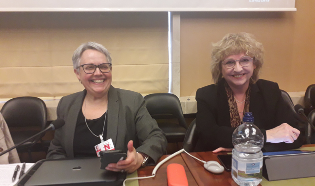 Description: Harriet Wistrich and Cris McCurley at UK CEDAW report presentation 2019