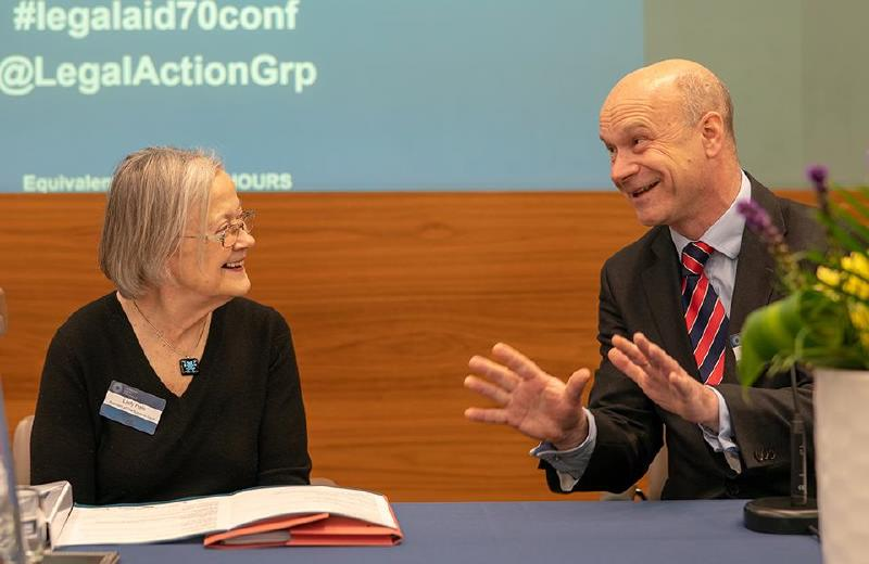 Description: Lady Hale and Stephen Knafler QC at Legal Aid at 70 conference April 2019 (RICHARD...